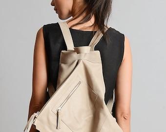 NEW Beige Extravagant Backpack/Genuine Leather Bag/Everyday Beige Rucksack/Handmade Leather Satchel/Asymmetric Leather Handbag/Beige Tote