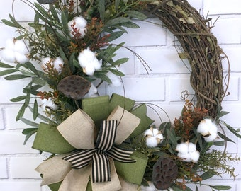Fall Wreath, Farmhouse Wreath, Cotton Wreath, Rustic Home Decor, Honeycomb and Olive Branches, Grapevine Wreath, Door Wreath for Front Door