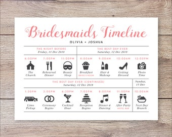 Wedding day timeline itinerary schedule for the bridal party bridesmaids timeline program wedding timeline bridesmaids wedding itinerary timeline bridesmaids big day timeline wedding day timeline junglespirit Choice Image