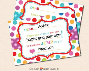 Jump, Play & Bounce Party - Polka Dot Stripe - Fill-in-the-Blank Kids Birthday Thank You Note - INSTANT DOWNLOAD - Digital, Printable Files