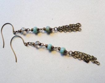 Bronze Earring, Turquoise Earring, Glass Beaded  Bohemian Earring, Fringe Chain Dangle Earring, Boho Chic, Brass Earring Vintaj Brass