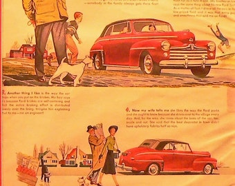 1948 Ford Convertible Car Ad Matted Vintage Print