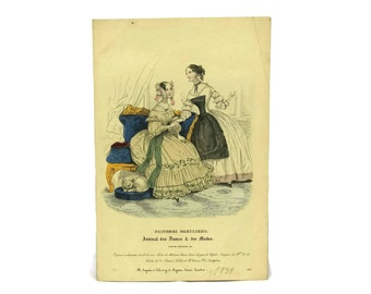 1838 Antique Fashion Illustration. Fashion Plate from Costumes Parisiens. French Engraving.  Ready To Frame Art. Fashionista Gift.