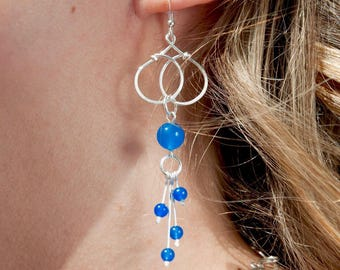 Dangling earrings with blue jade beads King - handmade hammered silver plated - gemstones - made in France