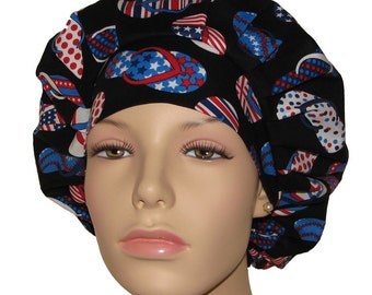 All American Patriotic Flip Flops-Patriotic Scrub Hat-ScrubHeads-Scrub Hats For Women-Bouffant Scrub Hat-Scrub Caps-Holiday Scrub Hat