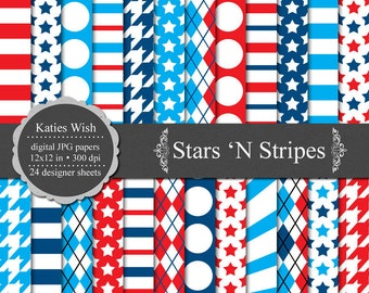Stars and Stripes digital paper kit 12 x12 jpgs files for Commercial Use