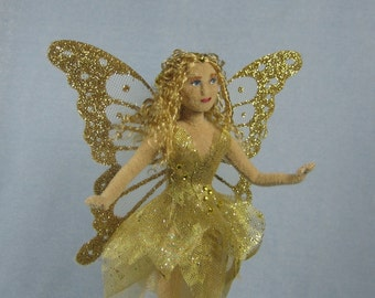 Gold Fairy Soft Sculpture Miniature Doll by Marie W. Evans