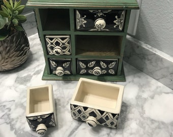 Apothecary Cabinet with 6 Ceramic Drawers, Hand Painted Wooden Cabinet Dresser Style Tea Bag Storage or Paraphernalia Box,  Item #587392996