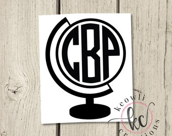 Globe Monogram Vinyl Decal
