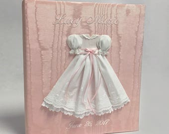 Baby Memory Book in Moire with Swiss Batiste Dress