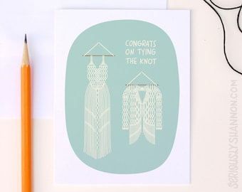 Tie the knot Wedding card, Tying the knot, Wedding Congratulations Gift, Wedding Congrats,  Pretty Bridal Card Macrame, A2 greeting card