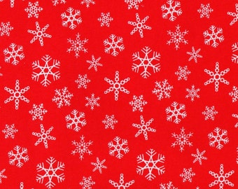 SNOWFLAKE RED, Cotton/Lycra Jersey Knit Fabric, FQ 18 x 30 inches