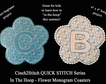 "Quick Stitch Flower Monogram Coasters - In The Hoop - Machine Embroidery Design Download (4"" x 4"" Hoop), Vinyl or Recycled Denim"