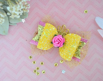 Pink Belle bow hair clip, Beauty and the beast, disney princess belle bow, glitter Pink Belle bow, disney princess Belle hair clip, Belle he