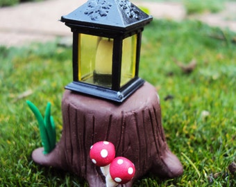 Fairy Garden Lantern, Polymer Clay Tree Stump, Miniature Garden, Terrarium