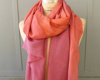 Natural dyed silk and wool scarf shawl in burgundy and peach with cochineal and sandalwood dyes