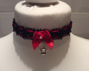 Sexy Black & Red Sequined Kitten Play Choker Collar With Cat Bell
