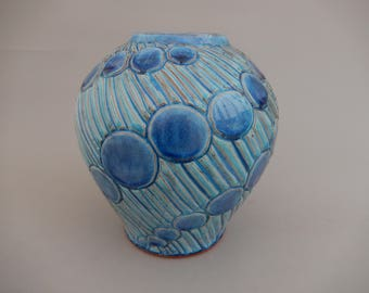 Pottery Vase, Aquamarine Ceramic Flower Vase, Terracotta Handmade Earthenware