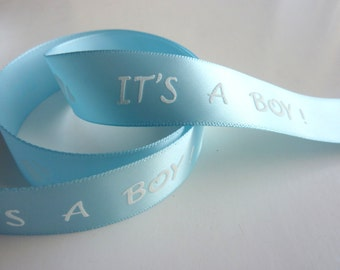 """7/8 in. 5 yards Blue Embossed It's a Boy Single-face Satin Ribbon Trim. 7/8"""" wide"""
