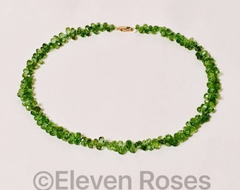 585 14k Gold Peridot Briolette Necklace Free US Shipping