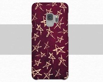 Magenta Red Stars Galaxy S9 Phone Case, Galaxy S9 Plus Case, Star S9 Case, S8 Plus Case, Abstract Galaxy S8 Case Galaxy S7, Note 8, Dark Red