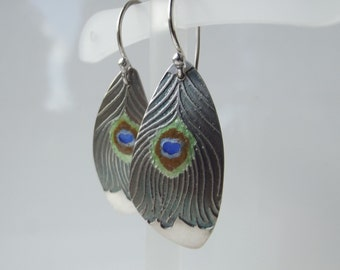 Peacock Feather Ear Rings