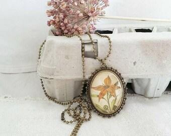 Watercolor flower pendant