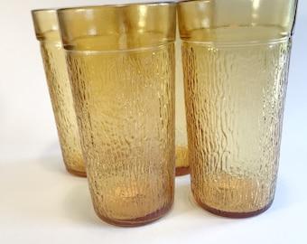 Vintage Amber Pressed Glass Highball Tumbler Glasses Set of 4,Retro,Barware,Mid Century,Amber,Pressed Glass,Tumblers,Highball,Yellow