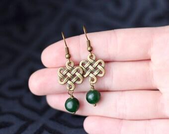 Celtic Knot Green Stone Earrings, St. Patrick's Day, Brass Bronze Dangle Earrings, Irish Gifts for Mom Her Women, Mother's Day Gift, Jade