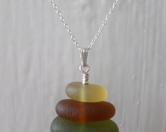 Stacked Sea Glass Sterling Silver Necklace, Pendant, Stack, Seaglass, Beach Glass Jewelry, Seaham, Beach Jewelry, Green, Amber, Yellow