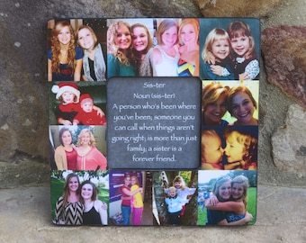 "Bridesmaid Collage Picture Frame, Personalized Sister Gift, Custom Maid of Honor Frame, Best Friends Gift, Parent Gift, 8"" x 8"" Frame"