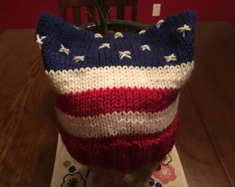American flag cat ears pussy hat protest march patriotic 4th of July march for truth red white blue beanie knitted USA