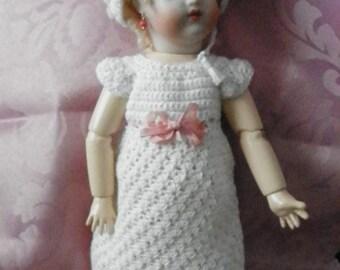 Bleuette Crochet Dress and Bonnet