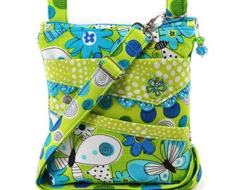 Small Crossbody Bag Turquoise Blue Lime Green Butterflies