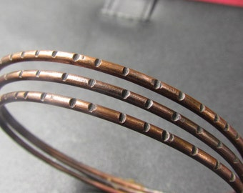 Copper Bangle Bracelet CU Notched Pattern Handmade Jewelry