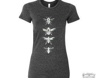Womens BEES -hand screen printed t shirt All Sizes s m l xl xxl (+ Color Options) custom