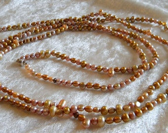 "Shades of Beige Freshwater Pearls Long Necklace, Various Shapes, 63"" Long"