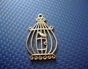 Bird cage and 34 mm x 23 mm silver-plated charm or pendant