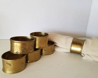 Brass Napkin Rings Set of 6 Dining Table Decor