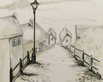Whitby Steps drawing, original, picture, art