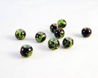 PDL95 - 5 rare beads 6mm glass green Olive stripe Brown speckled pattern