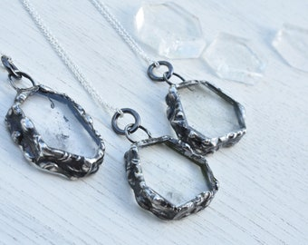Quartz Crystal Slice Geometric Necklace