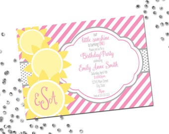 Sunshine Birthday Party Invitation with Monogram - Our Little Sunshine - First Birthday - Stripes and Suns - Yellow Grey Pink - Printable