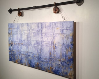 Original Large abstract painting industrial pipe wall hanging rustic wall decor by  Jmjartstudio  24 X 48 Inches Blue paintings-oil painting