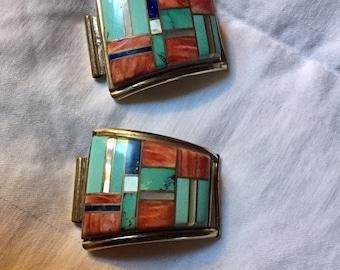 Vintage Navajo Yazzie 12K GF Watch Band Multi Stone Channel Inlay