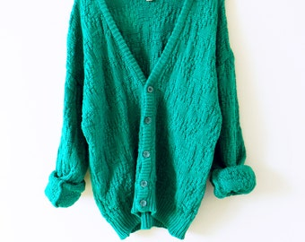 Vintage Slouchy Cardigan in Bright Teal / Cozy Oversized Sweater / Emerald Teal Chunky Cardigan /  Textured Knit Boho Sweater