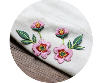 Pink Flowers Appliques Sew On, one pair