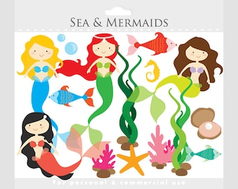 Mermaid clipart - mermaids clip art, little, sea, ocean, fish, seaweed, pearl, starfish, oysters, fish, for personal and commercial use