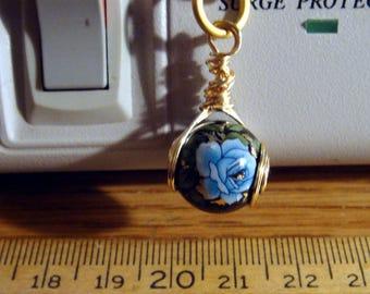 "My#155T - A Blue Rose/Black Japanese Tensha Bead Pendant! w/Spiral Wire Wraps/Chain 20""..w/Spiral Wraps!  Size: 14m"