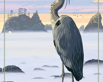 Whidbey Island, Washington - Blue Heron (Art Prints available in multiple sizes)